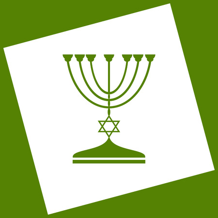 Jewish Menorah candlestick in black silhouette. Vector. White icon obtained as a result of subtraction rotated square and path. Avocado background. Illustration