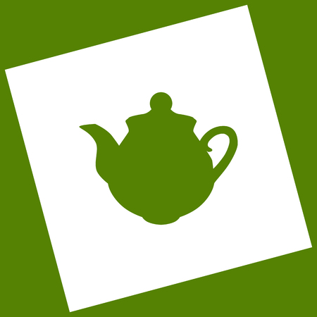 rotated: Tea maker sign. Vector. White icon obtained as a result of subtraction rotated square and path. Avocado background.