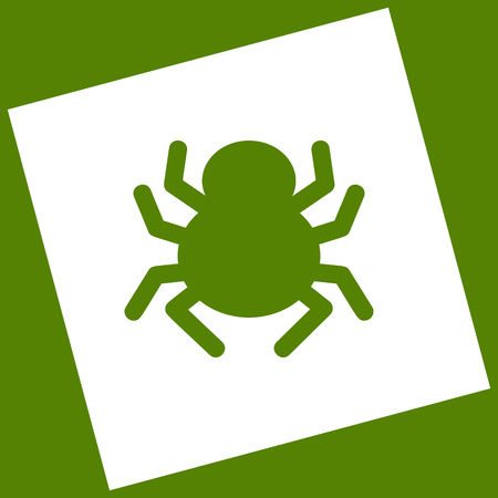 Spider sign illustration. Vector. White icon obtained as a result of subtraction rotated square and path. Avocado background.