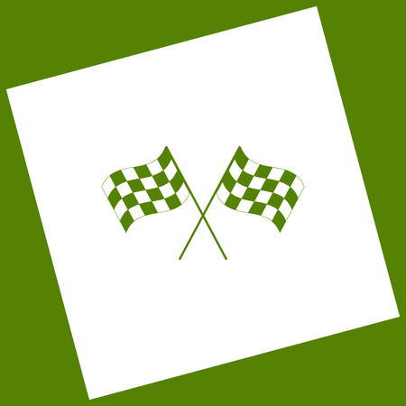 grand prix: Crossed checkered flags logo waving in the wind conceptual of motor sport. Vector. White icon obtained as a result of subtraction rotated square and path. Avocado background.