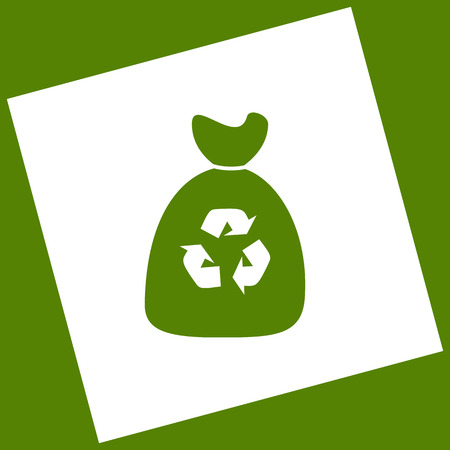 Trash bag icon. Vector. White icon obtained as a result of subtraction rotated square and path. Avocado background.