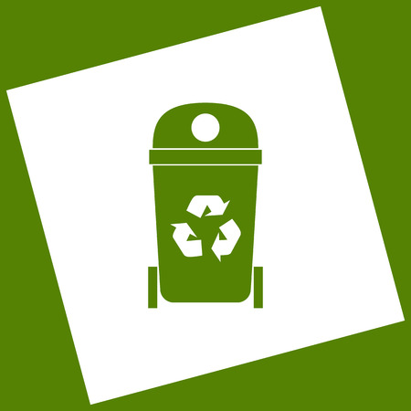 trashing: Trashcan sign illustration. Vector. White icon obtained as a result of subtraction rotated square and path. Avocado background.