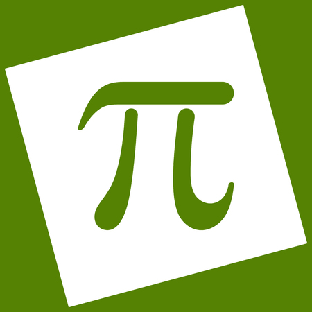 Pi greek letter sign. Vector. White icon obtained as a result of subtraction rotated square and path. Avocado background.