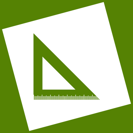 scale icon: Ruler sign illustration. Vector. White icon obtained as a result of subtraction rotated square and path. Avocado background.