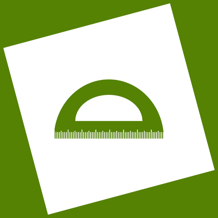 Ruler sign illustration. Vector. White icon obtained as a result of subtraction rotated square and path. Avocado background.