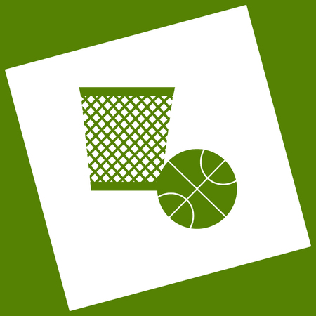 rotated: Trash sign illustration. Vector. White icon obtained as a result of subtraction rotated square and path. Avocado background.