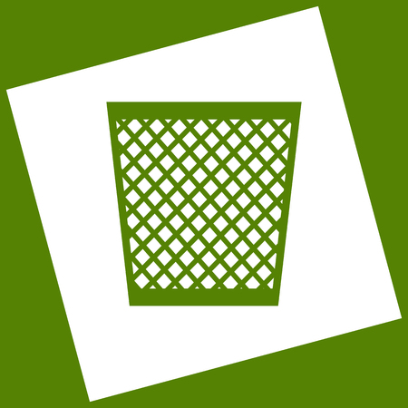 Trash sign illustration. Vector. White icon obtained as a result of subtraction rotated square and path. Avocado background.