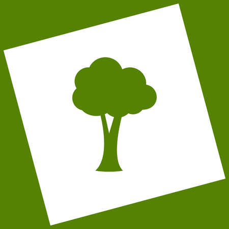 Tree sign illustration. Vector. White icon obtained as a result of subtraction rotated square and path. Avocado background.