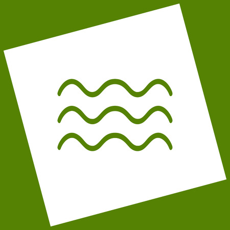 Waves sign illustration. Vector. White icon obtained as a result of subtraction rotated square and path. Avocado background.