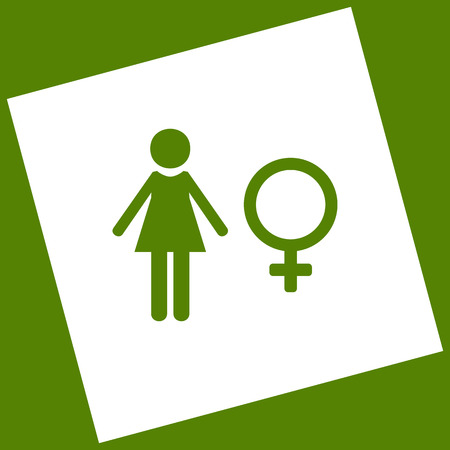 Female sign illustration. Vector. White icon obtained as a result of subtraction rotated square and path. Avocado background.