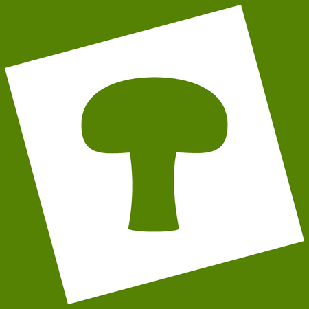 Mushroom simple sign. Vector. White icon obtained as a result of subtraction rotated square and path. Avocado background.