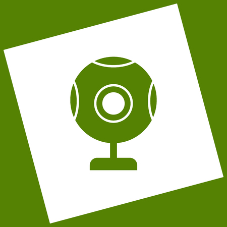acquaintance: Chat web camera sign. Vector. White icon obtained as a result of subtraction rotated square and path. Avocado background.