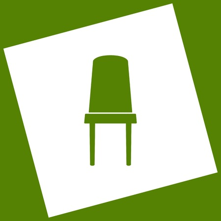 Office chair sign. Vector. White icon obtained as a result of subtraction rotated square and path. Avocado background.