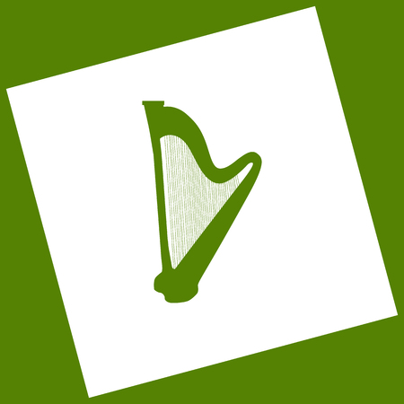Musical instrument harp sign. Vector. White icon obtained as a result of subtraction rotated square and path. Avocado background. Illustration