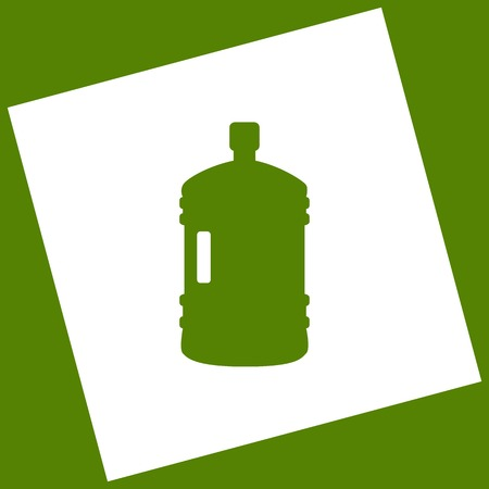 Plastic bottle silhouette sign. Vector. White icon obtained as a result of subtraction rotated square and path. Avocado background. Illustration