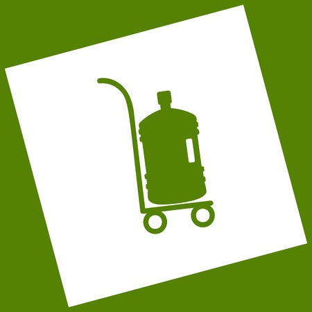 Plastic bottle silhouette with water. Big bottle of water on track. Vector. White icon obtained as a result of subtraction rotated square and path. Avocado background.