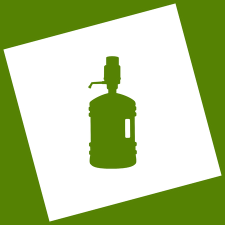 Plastic bottle silhouette with water and siphon. Vector. White icon obtained as a result of subtraction rotated square and path. Avocado background.