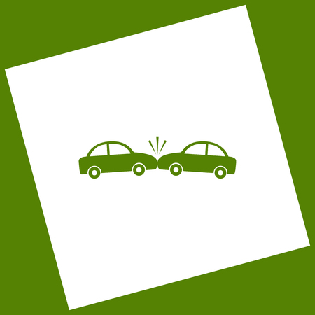 crashed: Crashed Cars sign. Vector. White icon obtained as a result of subtraction rotated square and path. Avocado background.