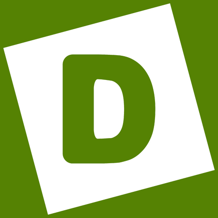 d mark: Letter D sign design template element. Vector. White icon obtained as a result of subtraction rotated square and path. Avocado background.