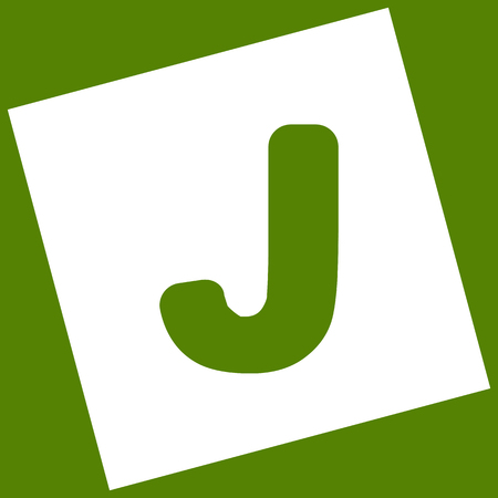 Letter J sign design template element. Vector. White icon obtained as a result of subtraction rotated square and path. Avocado background. Illustration