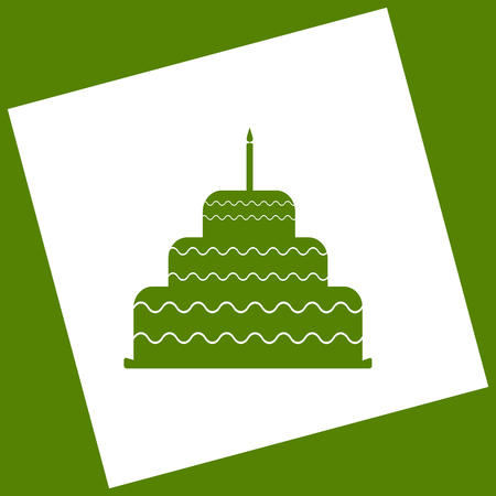 Cake with candle sign. Vector. White icon obtained as a result of subtraction rotated square and path. Avocado background. Illustration