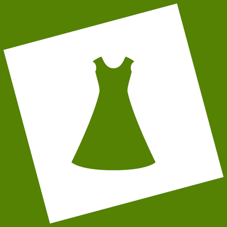 cor: Beautiful long dress sign. Vector. White icon obtained as a result of subtraction rotated square and path. Avocado background.
