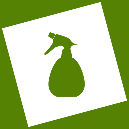 Spray bottle for cleaning sign. Vector. White icon obtained as a result of subtraction rotated square and path. Avocado background.