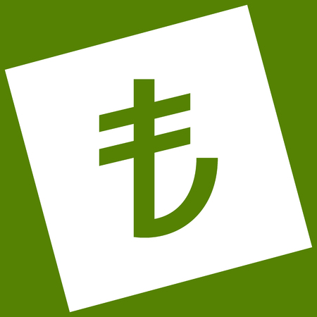 converter: Turkiey Lira sign. Vector. White icon obtained as a result of subtraction rotated square and path. Avocado background. Illustration