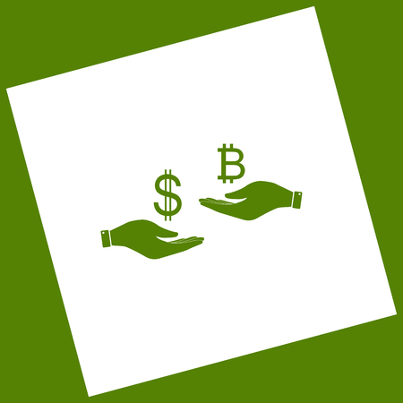 Currency exchange from hand to hand. Dollar and Bitcoin. Vector. White icon obtained as a result of subtraction rotated square and path. Avocado background.