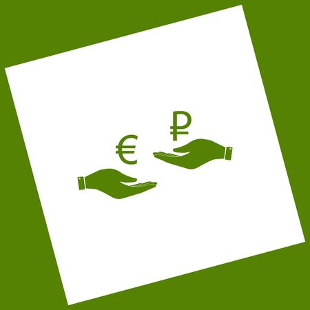 Currency exchange from hand to hand. Euro and Ruble. Vector. White icon obtained as a result of subtraction rotated square and path. Avocado background.