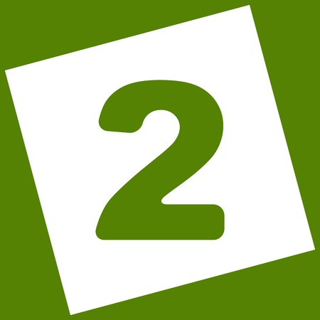 Number 2 sign design template elements. Vector. White icon obtained as a result of subtraction rotated square and path. Avocado background.