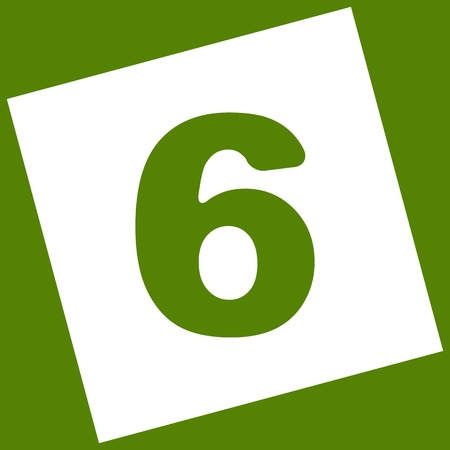 Number 6 sign design template element. Vector. White icon obtained as a result of subtraction rotated square and path. Avocado background. Illustration