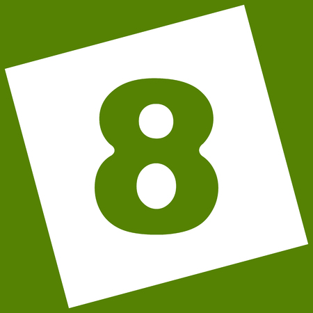 Number 8 sign design template element. Vector. White icon obtained as a result of subtraction rotated square and path. Avocado background. Illustration