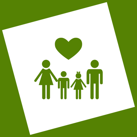 Family symbol with heart. White icon obtained as a result of subtraction rotated square and path. Avocado background.