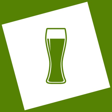 Beer glass sign. Vector. White icon obtained as a result of subtraction rotated square and path. Avocado background.