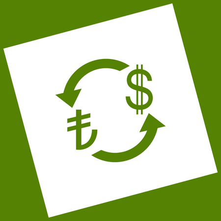 Currency exchange sign. Turkey Lira and US Dollar. Vector. White icon obtained as a result of subtraction rotated square and path. Avocado background.