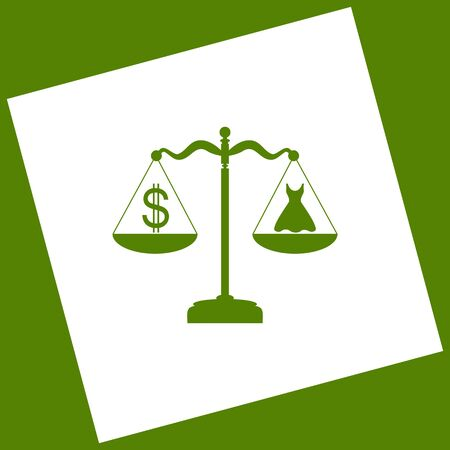 Dress and dollar symbol on scales. White icon obtained as a result of subtraction rotated square and path. Avocado background.