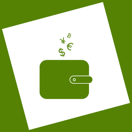 Wallet sign with currency symbols. Vector. White icon obtained as a result of subtraction rotated square and path. Avocado background. Ilustracja