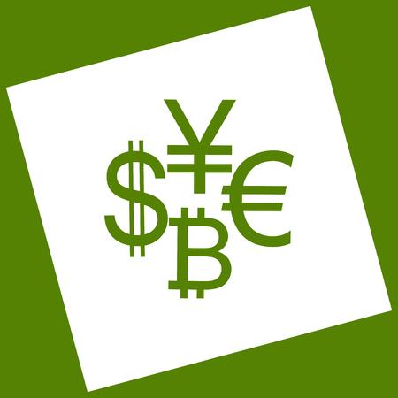 Währungszeichen-Sammlungsdollar, Euro, Bitcoin, Yen. Das als Ergebnis der Subtraktion erhaltene weiße Symbol rotierte das Quadrat und den Pfad. Avocado-Hintergrund.