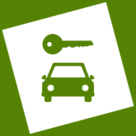 rent index: Car key simplistic sign. White icon obtained as a result of subtraction rotated square and path. Avocado background.