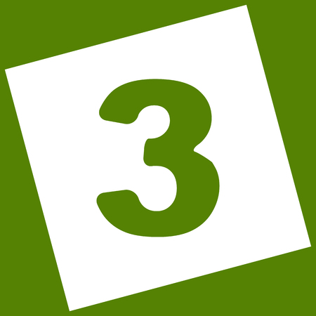 Number 3 sign design template element. White icon obtained as a result of subtraction rotated square and path. Avocado background. Illustration