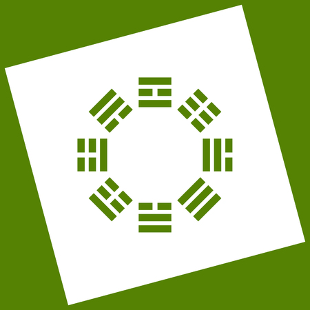 taijitu: Bagua sign. Vector. White icon obtained as a result of subtraction rotated square and path. Avocado background.