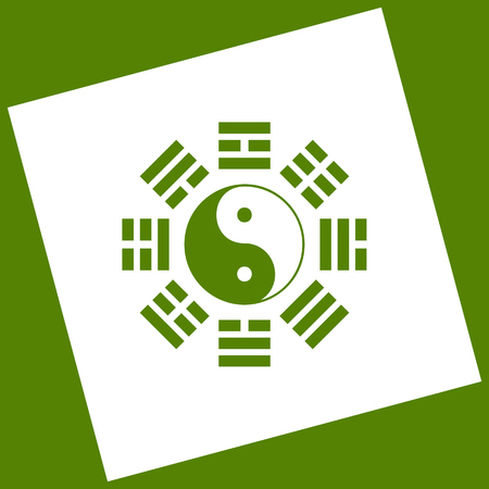 taiji: Yin and yang sign with bagua arrangement. Vector. White icon obtained as a result of subtraction rotated square and path. Avocado background. Illustration