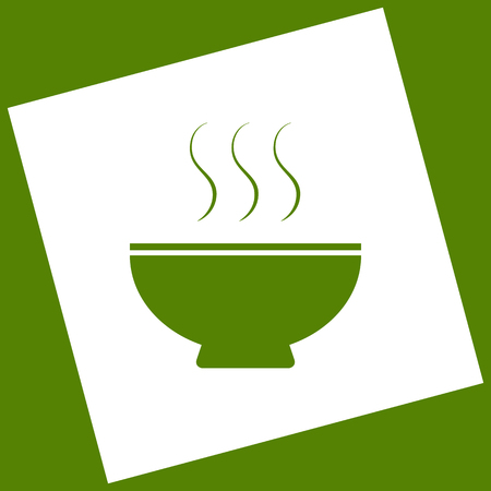 gastro: Soup sign. Vector. White icon obtained as a result of subtraction rotated square and path. Avocado background.