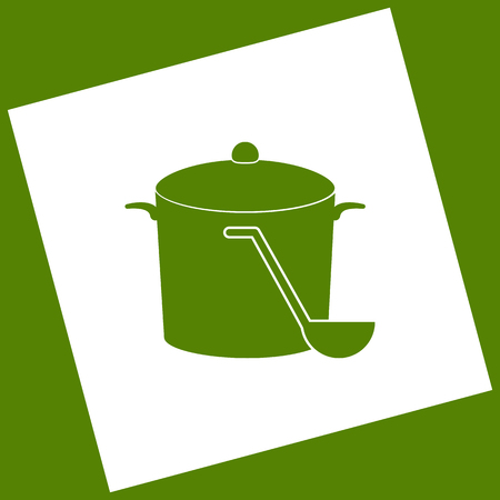 Pan with steam sign. Vector. White icon obtained as a result of subtraction rotated square and path. Avocado background. Illustration