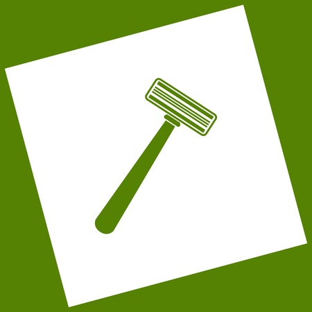 Safety razor sign. Vector. White icon obtained as a result of subtraction rotated square and path. Avocado background.