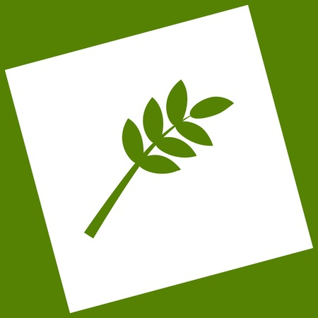 Tree branch sign. Vector. White icon obtained as a result of subtraction rotated square and path. Avocado background. Illustration