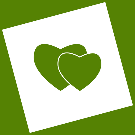 cor: Two hearts sign. Vector. White icon obtained as a result of subtraction rotated square and path. Avocado background. Illustration