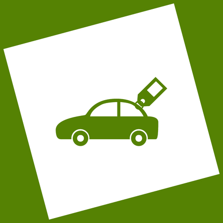 Car sign with tag. Vector. White icon obtained as a result of subtraction rotated square and path. Avocado background.