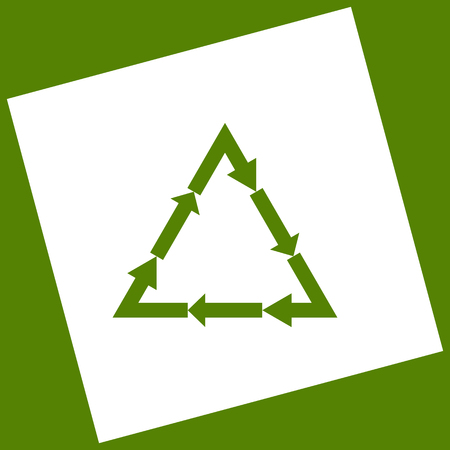 v cycle: Plastic recycling symbol PVC 3 , Plastic recycling code PVC 3. Vector. White icon obtained as a result of subtraction rotated square and path. Avocado background.